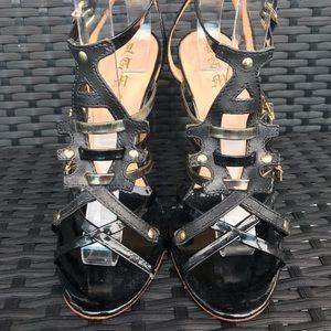 LAMB Black Cage Statement Patent Leather Heels